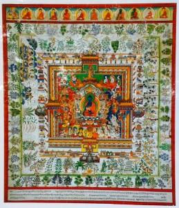 Traditionelle Darstellung des Medizinbuddha mit seinem Mandala und umgeben von Heilpflanzen.